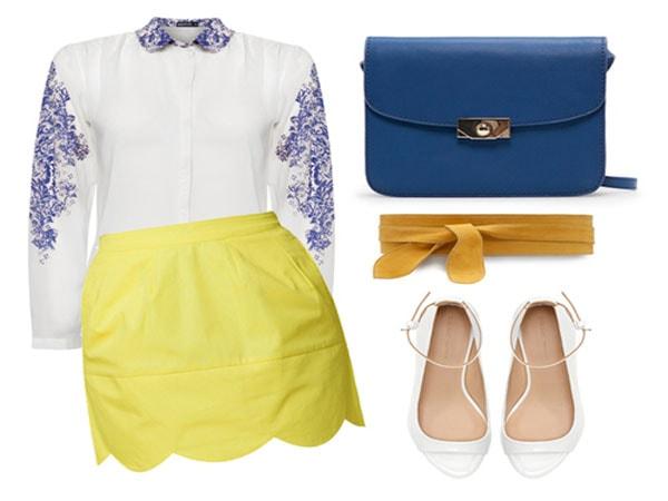 Nhẹ nhàng chân váy vàng chanh kết hợp cùng sơ mi trắng